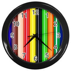 Stripes Colorful Striped Background Wallpaper Pattern Wall Clocks (black) by Simbadda