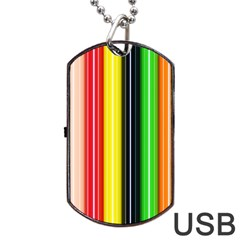 Stripes Colorful Striped Background Wallpaper Pattern Dog Tag Usb Flash (two Sides) by Simbadda