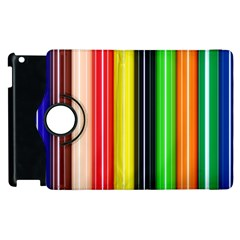 Stripes Colorful Striped Background Wallpaper Pattern Apple Ipad 2 Flip 360 Case by Simbadda