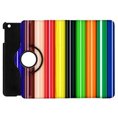 Stripes Colorful Striped Background Wallpaper Pattern Apple Ipad Mini Flip 360 Case by Simbadda