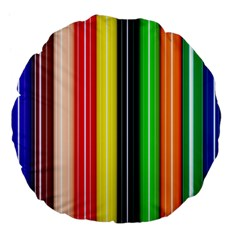 Stripes Colorful Striped Background Wallpaper Pattern Large 18  Premium Flano Round Cushions