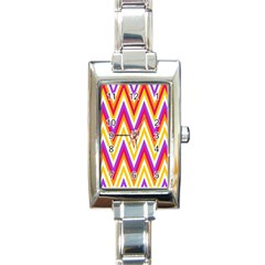 Colorful Chevrons Zigzag Pattern Seamless Rectangle Italian Charm Watch by Simbadda