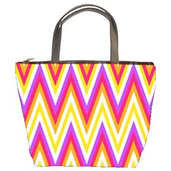 Colorful Chevrons Zigzag Pattern Seamless Bucket Bags by Simbadda