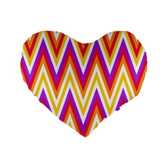 Colorful Chevrons Zigzag Pattern Seamless Standard 16  Premium Heart Shape Cushions by Simbadda