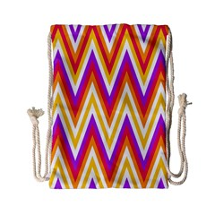 Colorful Chevrons Zigzag Pattern Seamless Drawstring Bag (small) by Simbadda
