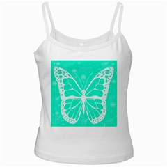 Butterfly Cut Out Flowers White Spaghetti Tank by Simbadda