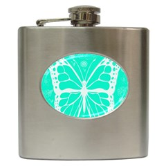Butterfly Cut Out Flowers Hip Flask (6 Oz) by Simbadda