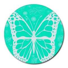 Butterfly Cut Out Flowers Round Mousepads by Simbadda