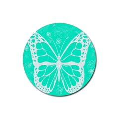 Butterfly Cut Out Flowers Rubber Coaster (round)  by Simbadda