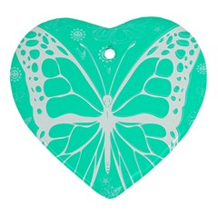 Butterfly Cut Out Flowers Heart Ornament (two Sides)