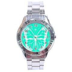 Butterfly Cut Out Flowers Stainless Steel Analogue Watch by Simbadda