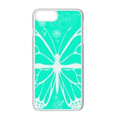 Butterfly Cut Out Flowers Apple Iphone 7 Plus White Seamless Case