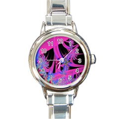 Fractal In Bright Pink And Blue Round Italian Charm Watch