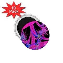 Fractal In Bright Pink And Blue 1 75  Magnets (10 Pack)