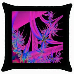 Fractal In Bright Pink And Blue Throw Pillow Case (black) by Simbadda