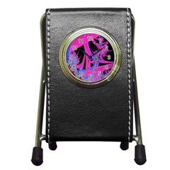 Fractal In Bright Pink And Blue Pen Holder Desk Clocks by Simbadda