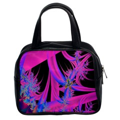 Fractal In Bright Pink And Blue Classic Handbags (2 Sides) by Simbadda