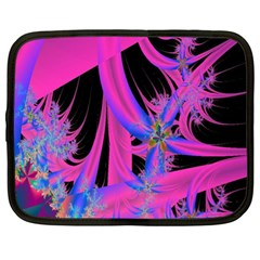 Fractal In Bright Pink And Blue Netbook Case (xl)