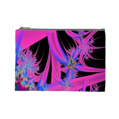 Fractal In Bright Pink And Blue Cosmetic Bag (large)
