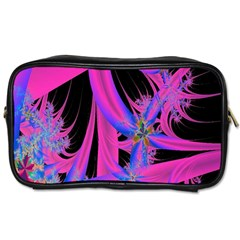 Fractal In Bright Pink And Blue Toiletries Bags by Simbadda