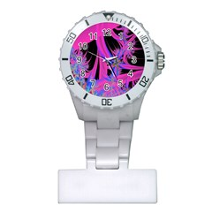 Fractal In Bright Pink And Blue Plastic Nurses Watch