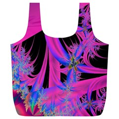Fractal In Bright Pink And Blue Full Print Recycle Bags (l)  by Simbadda