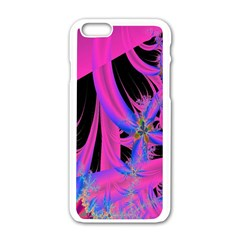Fractal In Bright Pink And Blue Apple Iphone 6/6s White Enamel Case by Simbadda