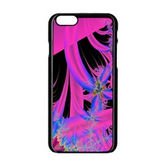 Fractal In Bright Pink And Blue Apple Iphone 6/6s Black Enamel Case