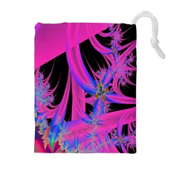 Fractal In Bright Pink And Blue Drawstring Pouches (extra Large) by Simbadda