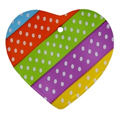 Colorful Easter Ribbon Background Ornament (heart)