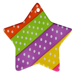 Colorful Easter Ribbon Background Star Ornament (two Sides) by Simbadda