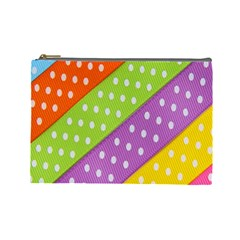 Colorful Easter Ribbon Background Cosmetic Bag (large)