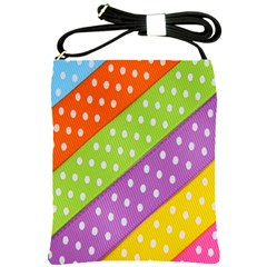 Colorful Easter Ribbon Background Shoulder Sling Bags by Simbadda