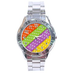Colorful Easter Ribbon Background Stainless Steel Analogue Watch by Simbadda