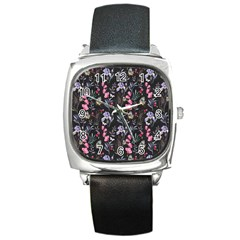 Wildflowers I Square Metal Watch