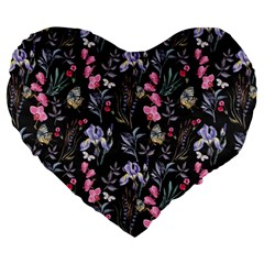 Wildflowers I Large 19  Premium Heart Shape Cushions