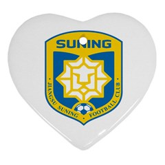 Jiangsu Suning F C  Heart Ornament (two Sides) by Valentinaart