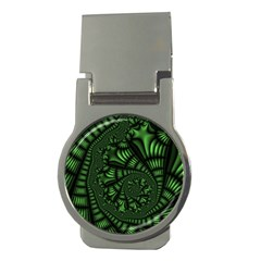 Fractal Drawing Green Spirals Money Clips (round)  by Simbadda