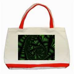 Fractal Drawing Green Spirals Classic Tote Bag (red)