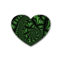 Fractal Drawing Green Spirals Rubber Coaster (heart)  by Simbadda