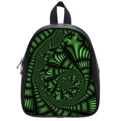 Fractal Drawing Green Spirals School Bags (small)  by Simbadda