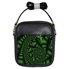 Fractal Drawing Green Spirals Girls Sling Bags