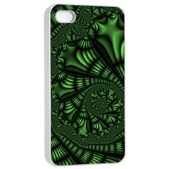 Fractal Drawing Green Spirals Apple Iphone 4/4s Seamless Case (white) by Simbadda