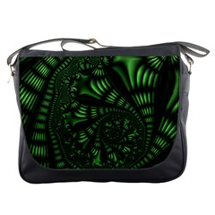 Fractal Drawing Green Spirals Messenger Bags by Simbadda