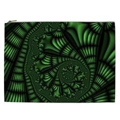 Fractal Drawing Green Spirals Cosmetic Bag (xxl)  by Simbadda