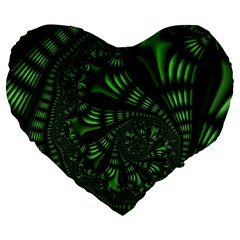 Fractal Drawing Green Spirals Large 19  Premium Heart Shape Cushions by Simbadda