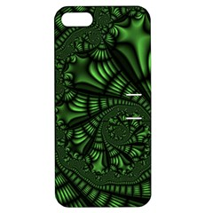 Fractal Drawing Green Spirals Apple Iphone 5 Hardshell Case With Stand by Simbadda