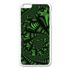 Fractal Drawing Green Spirals Apple Iphone 6 Plus/6s Plus Enamel White Case by Simbadda