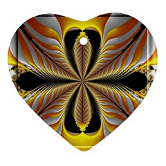 Fractal Yellow Butterfly In 3d Glass Frame Heart Ornament (two Sides) by Simbadda
