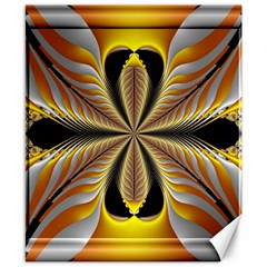 Fractal Yellow Butterfly In 3d Glass Frame Canvas 8  X 10